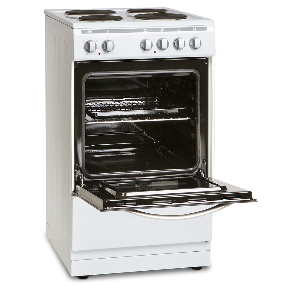 Montpellier MSE60W 60cm Single Cavity Electric Solid Plate Cooker in White
